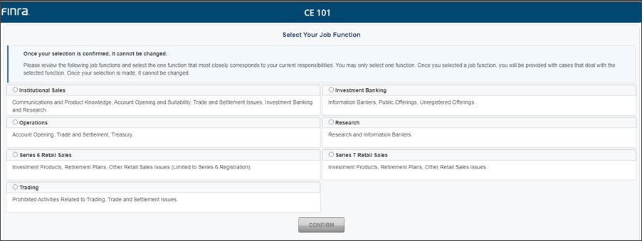CE in FinPro -CE 101 Job Selection
