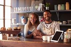 Couple Coffee Shop Counter