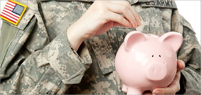 American Soldier with Piggy bank