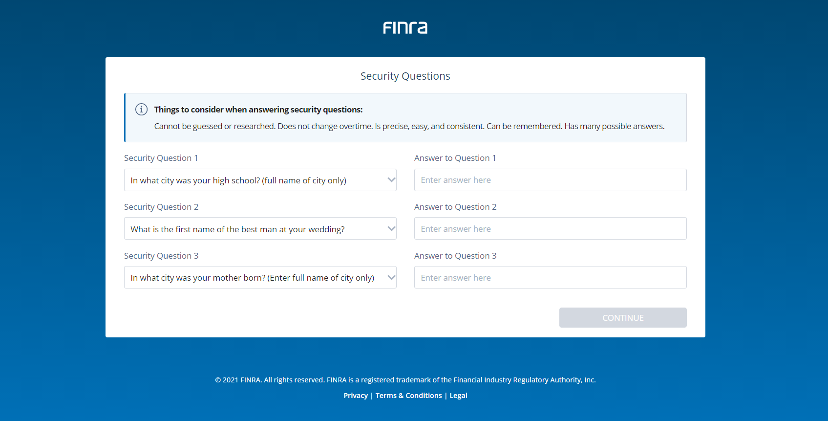 Screen of the Firm Gateway Security Questions and Answers