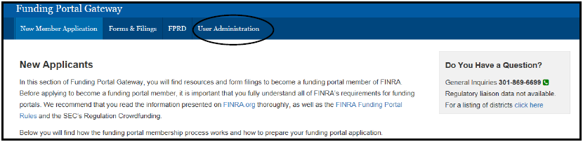 Funding Portal Gateway home page with user administration menu highlighted