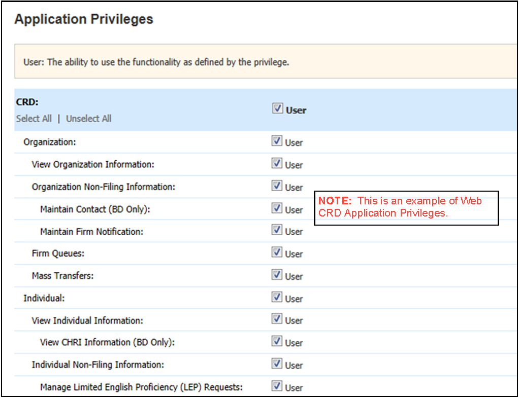 Screen showing user's account privileges.