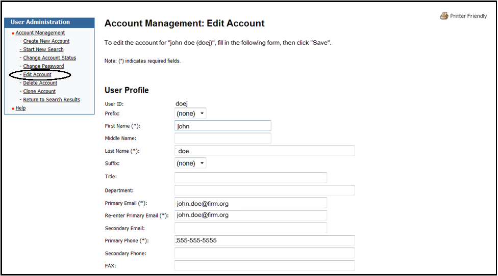 Account management edit account screen