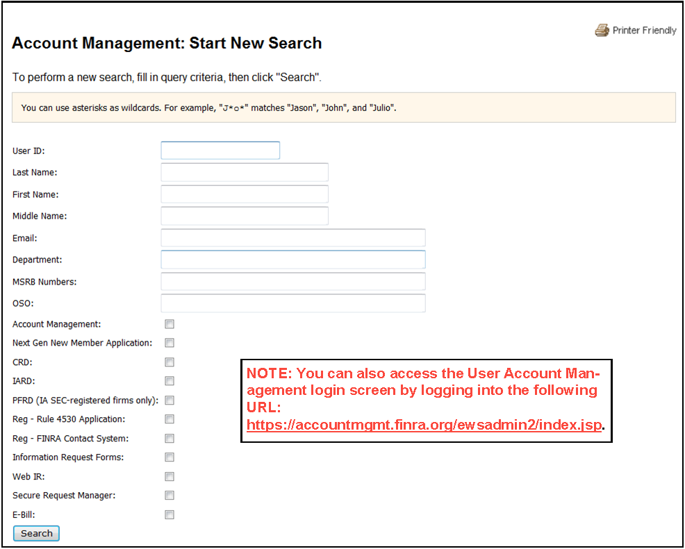 Account Management: Start New Search screen