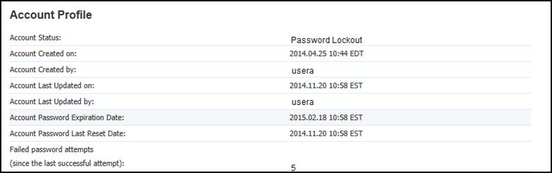 Account profile, account status password lockout
