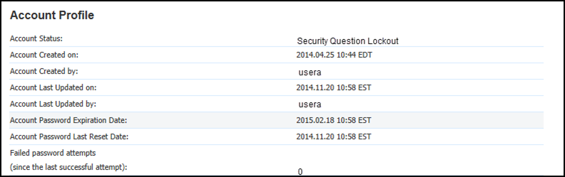 Account profile with security question lockout status
