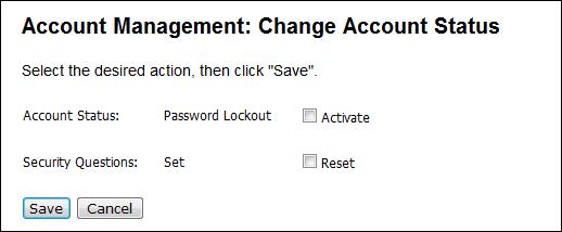 Account management change account status dialog box