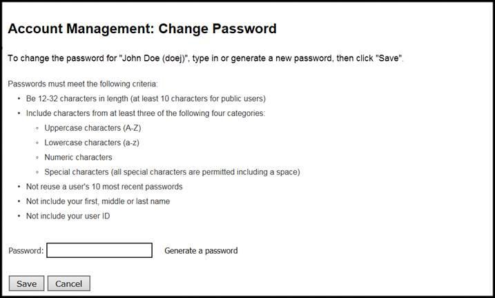 Account Management Change Password