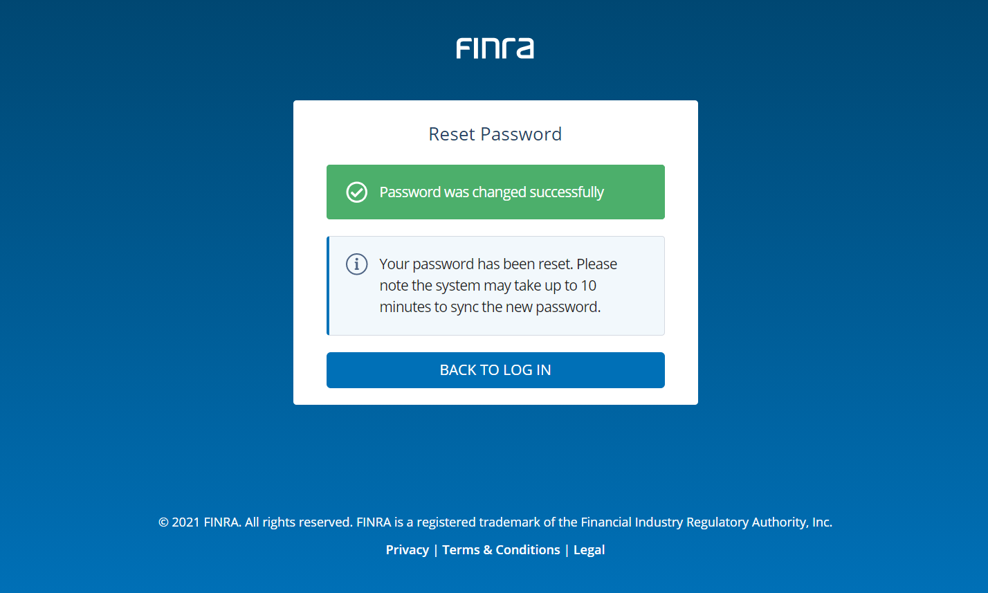 Firm Gateway Password Reset Successful Screen