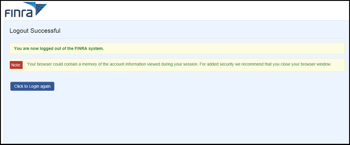 Account management log out success screen