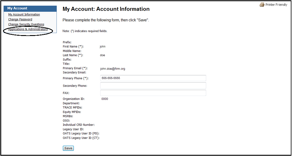My account information with applications and administrators highlighted
