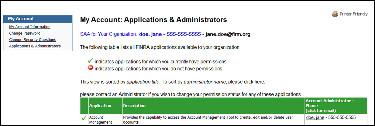 My account applications and administrators