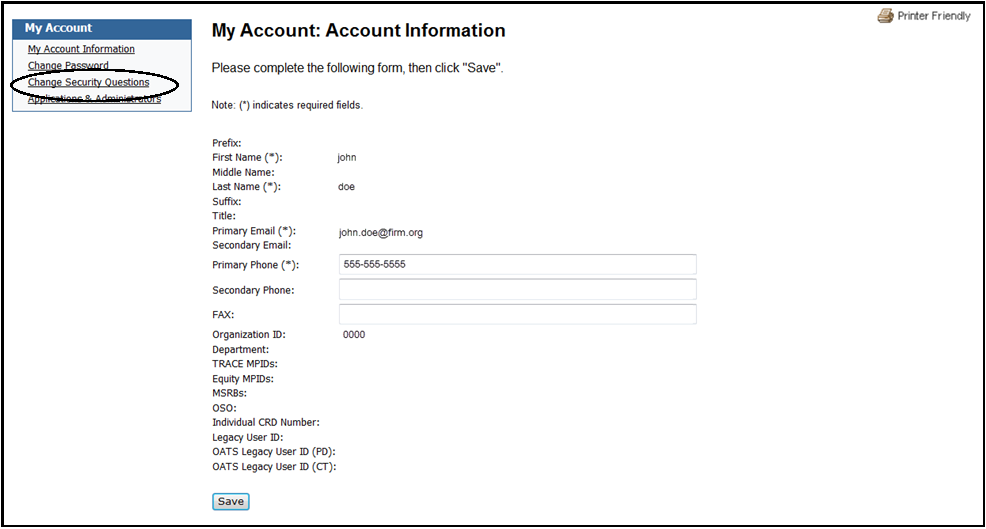 My account account information screen