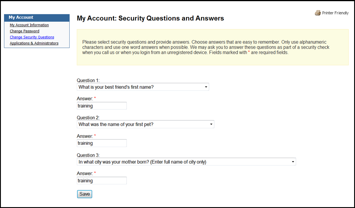 My Account: Security Questions and Answers screen