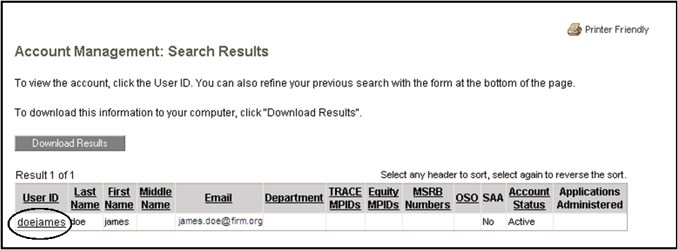 Account management search results page