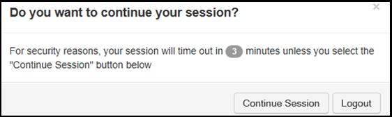 Account management timeout dialog box