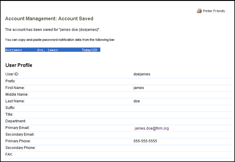 Account Management: Account Saved screen