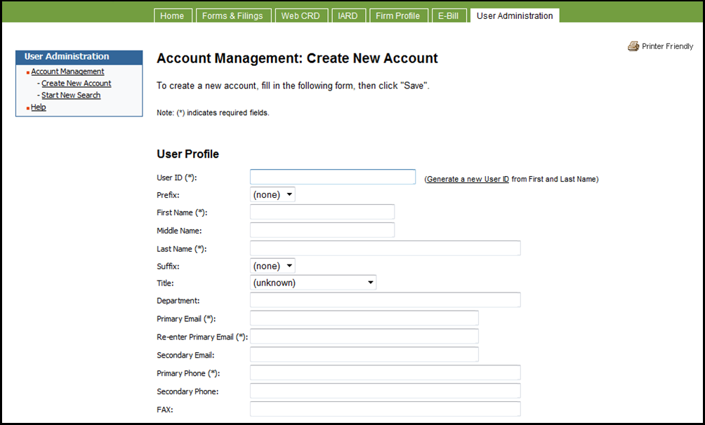 Account management create new account screen