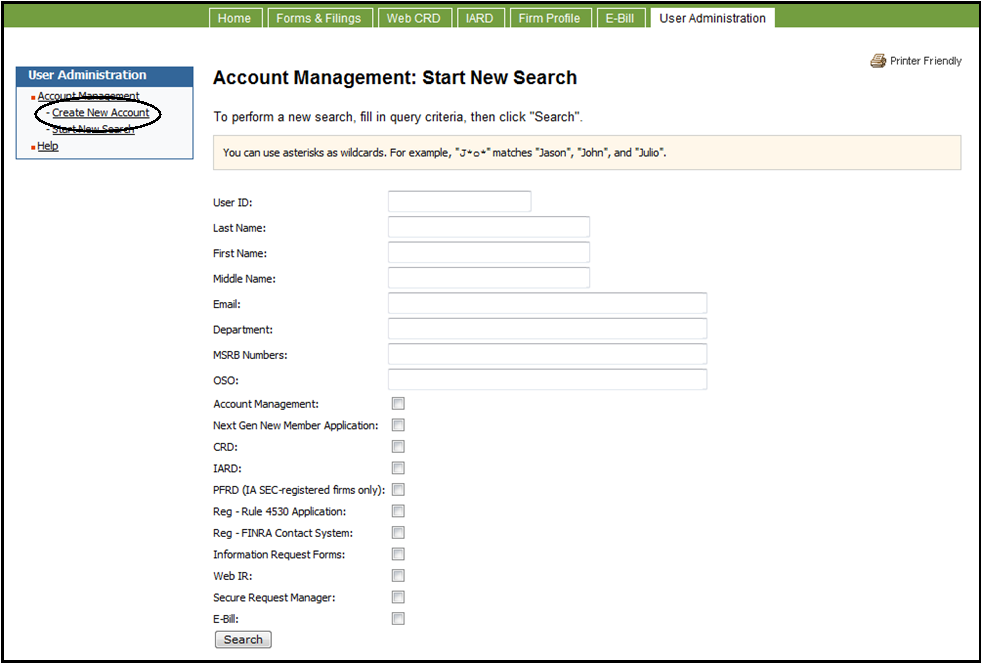 Account management start new search screen