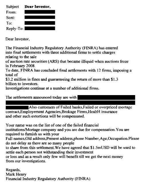 """Beware of Auction Rate Securities Settlement """"Phishing"""" Scam 