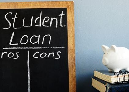 Student loan pros and cons handwritten on a blackboard