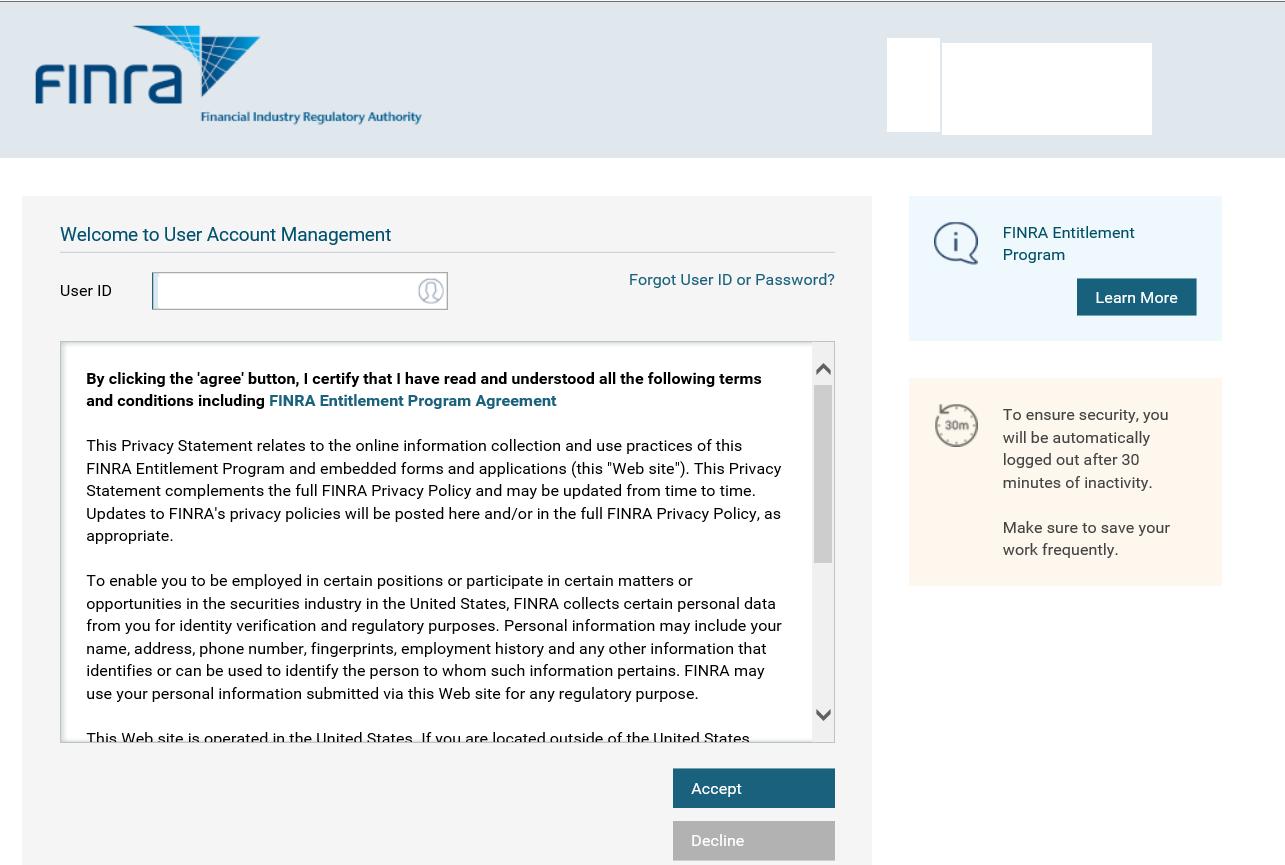 User Account Management login screen