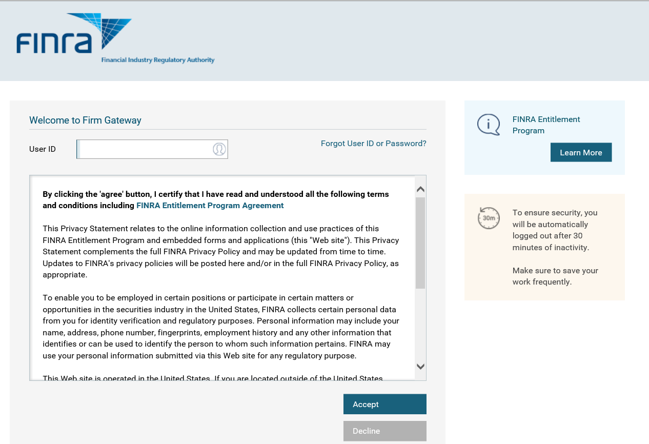 Firm Gateway Login Screen with Terms and Conditions